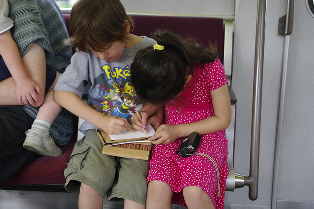drawing together on train
