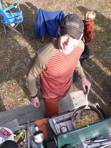 Greg making breakfast