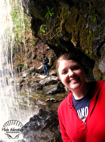 Karen behind Grotto Falls watermark