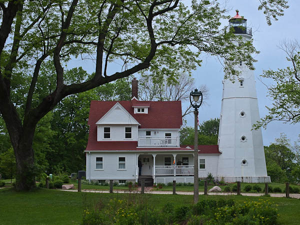North Point Lighthouse and Queen Anne-style Keeper's Quarters in Milwaukee, Wisconsin