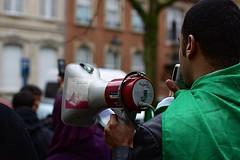 Algerian Protest (Gwenaël Piaser) Tags: algerians protest against president bouteflika algerie algeria 2011 february unlimitedphotos gwenaelpiaser canon eos 50d canoneos eos50d canoneos50d 35mm 35mmf14 canonef35mmf14lusm ef35mmf14lusm 35l arabic revolution belgium belgique bruxelles brussels brussel arabe manif megaphone prime