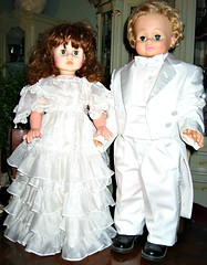 little couple in white (YourCastlesDecor) Tags: wedding white soft dolls pastel tuxedo dressingup dreamy weddingday boygirl vintagedolls whitetuxedo dressedinwhite littlecouple pairofdolls boygirldolls marthaminiature