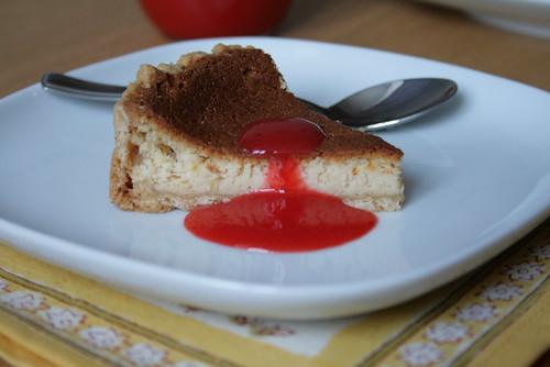 Ricotta cheesecake & son coulis de fraise
