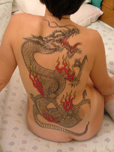 Tattoo Dragon On Back Body Girl