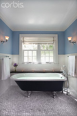 42-19527200 (Alicia Chu) Tags: blue light usa window bench tile bathroom candle floor furniture room minneapolis nobody towel faucet bathtub domesticscenes everydayscenes seatingfurniture sconce mn interiordesign lightfixture tealight tiledfloor windowshade wainscoting clawfootbathtub designarts walllamp traditionalstyle