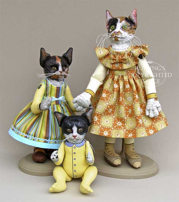 Fiona and Ziggy Original Kitten Folk Art Kitten Dolls by Elizabeth Ruffing, Hedda by Max Bailey