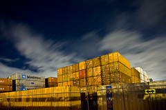 Maersk (LukeOlsen) Tags: nightphotography usa industry night oregon portland industrial nocturnal cargo boxes shipping nocturne freight containers shippingcontainers maersk lukeolsen