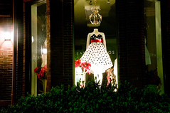 Newbury Street dress shop at night