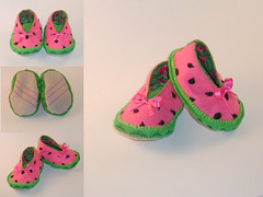 Watermelon Baby Bootie (Crafty Intentions) Tags: pink baby green seed sew felt watermelon booties watermellon babybootie handstitch handsew microsuede