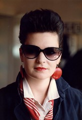 1980's style (garageowns) Tags: red sunglasses vintage big stripes scan bighair earrings lipstick eighties 1980s