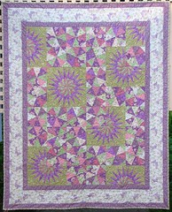 Eva's Garden (emma_louise) Tags: pink original white green purple quilt pastel kaleidoscope quilting fiberart patchwork commission stipple foundationpieced bedquilt fmq sampaguitaquilts