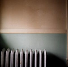 when (lisa scheer) Tags: blue light shadow white pennsylvania radiator hasselblad501cm kodakportra160 shartlesville