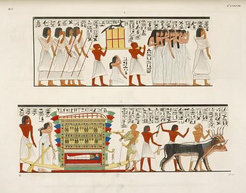 25- Acompañamiento de una momia al sepulcro-el dios Anubis presta el ultimo oficio al difunto