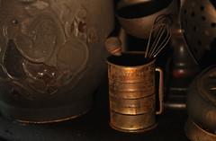 Kitchen (shadamai) Tags: kitchen dark fire can jar damaged sooty eggbeater ladle flickrchallengegroup flickrchallengewinner