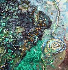Detail Danger at sea 1 (Karen Cattoire) Tags: original abstract art texture collage handmade lace originalart creation fabric fiberart beading fibers acrylicpaint textileart tissu abstrait windmillsspirals textiledart karencattoire fibretextile arttexilte