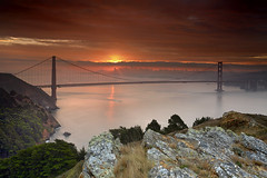 Daybreak at the Golden Gate (PatrickSmithPhotography) Tags: sanfrancisco california city travel bridge sea wallpaper vacation usa seascape rock fog skyscraper sunrise landscape bravo seascapes marin goldengatebridge goldengate sanfranciscobayarea bayarea marincounty 5d canon5d sanfranciscobay sausalito suspensionbridge marinheadlands kirbycove 1740l ggb californialandscape skyscrapercity californiaseascape seascapephotography
