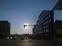 Sunset at Bridge and Elm (misterbisson) Tags: error iphone cubism flickup iphonecubism