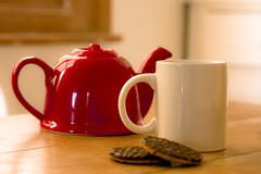 Tea and biccies (arooaroo) Tags: red cup tea chocolate biscuit mug teapot