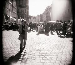 ... (peter.heindl) Tags: city autumn bw white man black 6x6 film analog holga downtown fuji herbst bn smoking dreaming roll sw neopan altstadt sonntag schwarz 120s acros landshut rollfilm weis verkaufsoffener kottan
