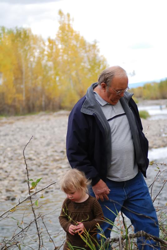 Ellie and Grandad at the River