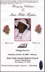 Miss Hilda's Funeral Program