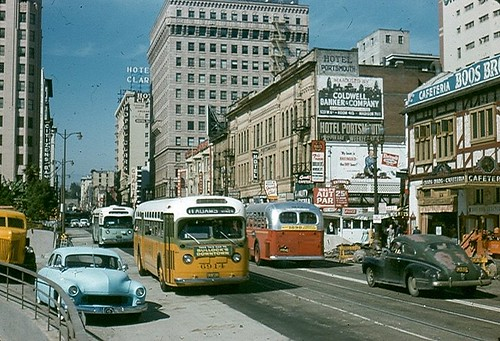 Adams bus Southbound on Hill St. Photo by Alan K Weeks, Dorothy Peyton Gray Transportation Library and Archive at the Los Angeles County Metropolitan Transportation Authority on Flickr
