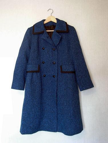 ПРОДАНО Темно-синее двубортное пальто (меланжевая ткань из синих и...
