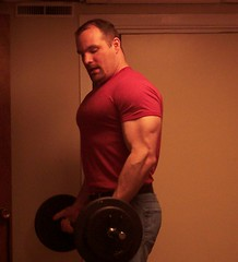 curling (Mike's Arm Gallery) Tags: male pecs muscles id profile clothed curl workout biceps barbell