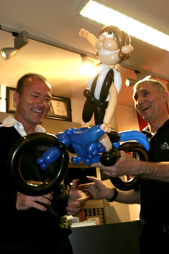 Alan Shearer receives balloon effigy of himself from Joe Waugh