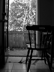 (..tmh) Tags: door wood bw tree outside chair day tiles breeze