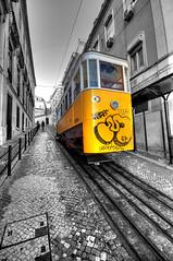 Lisbon tram (5ERG10) Tags: street bw colour portugal sergio yellow nikon lisboa lisbon hill tram pop coloring handheld hdr highdynamicrange colouring funicular selective funicolare d300 3xp colourpop photomatix sigma1020 colorpop amiti 5erg10 sergioamiti