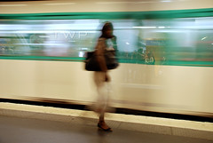 Relative Motion (WanderWorks) Tags: woman blur paris france station speed train underground subway de shoe waiting metro low tube fast charles passengers purse shutter gaulle francia etoile dsc3939vxhg
