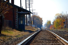 right on track (suesue2) Tags: railroad autumn fall michigan tracks trainstation mtclemens traindepot suesue2 amazingmich suefraserphotography