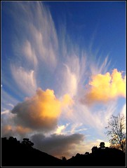 Fly Away Sky, Nature Paints with Clouds (moonjazz) Tags: blue light sunset sky sun white abstract tree nature up weather twilight shine bright pastel hills form shape puffy pure wispy 5photosaday mywinners anawesomeshot theunforgettablepictures colourartaward damniwishidtakenthat flickrlovers clolds