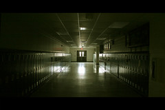 empty halls of high school (.emily.) Tags: school light reflection building lockers dark doors empty hallway highschool lowkey