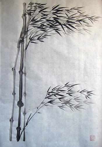Skinny Bamboo in wind
