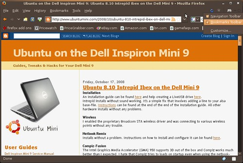 Screenshot-Ubuntu on the Dell Inspiron Mini 9: Ubuntu 8.10 Intrepid Ibex on the Dell Mini 9 - Mozilla Firefox