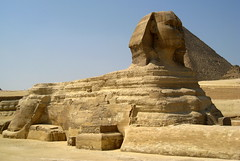 The Great Sphinx of Giza / Lower Egypt () Tags: africa vacation holiday man art cemetery grave graveyard sphinx architecture design sand ancient ruins flickr king desert pyramid northafrica tomb profile lion egypt graves mausoleum pharaoh limestone desierto goldenage publicart egipto ramadan rtw giza gypten egitto vacanze egypte pirmides roundtheworld gizeh 1000views ancientegypt afrique  antiquities globetrotter greathouse saharadesert northernafrica  2000views  worldtraveler gizanecropolis nemes aljizah loweregypt  sphinxofgiza greatsphinx greatsphinxofgiza 4thdynasty khufuspyramid nemesheaddress   bodyofalion ivdynasty dreamstella heritagesite2045 4 nemesheadcloth desertumafricanum