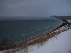 Lake Effect Snow (cedarkayak) Tags: november winter snow storm squall landscape michigan shoreline gales lakemichigan greatlakes empire blizzard sleepingbeardunes southmanitouisland lakeeffectsnow trianglecomposition cedarkayak fmfao