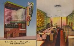 The Good Earth - Boston, Massachusetts (Jordan Smith (The Pie Shops)) Tags: boston vintage restaurant linen chinesefood massachusetts postcard goodearth