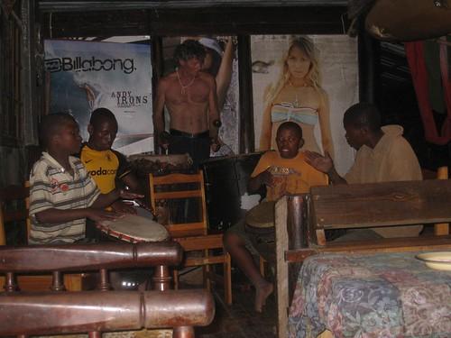 Drumming at Bomvu Backpackers