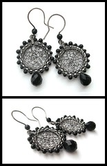 onyx silver round earrings