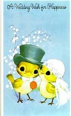 birds wedding (lorryx3) Tags: blue wedding birds vintage scan tophat chicks weddingcard vintagecard