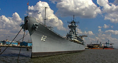 BL361 USS New Jersey (listentoreason) Tags: sky usa water clouds america river newjersey unitedstates camden military navy scenic favorites places olympus battleship bb ussnewjersey naval warship bb62 bigj blackdragon score35 iowaclass olympusc4040z c4040z