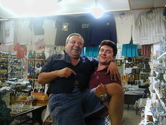 Two happy Greek salesmen