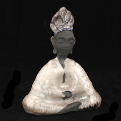 Seated in White Crackle Raku Meditation (TheBuddhaBuilder) Tags: sculpture art face statue modern ceramics peace nirvana spirit buddha buddhist buddhism calm altar clay zen figure pottery meditation karma spiritual yin enlightenment dharma buddah raku guan siddhartha kwan thebuddhaproject buddhabuilder