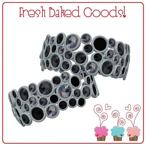 ~*FBG*~ Black & White Colored Sugar Silver Thumbprint Cookie Cuffs