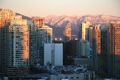 Snow on the local mountains (BC Robyn) Tags: winter snow canada mountains vancouver december bc britishcolumbia towers condos deepfreeze coldspell