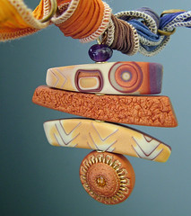 Sundance (julie_picarello) Tags: house yellow beads julie jewelry clay imprint pendant polymer gane mokume picarello