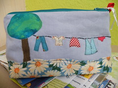 washing line finished :) (monaw2008) Tags: tree handmade linen fabric clothesline patchwork recycling applique washingline cosmeticbag monaw2008